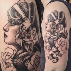 Gypsy woman tattoo by Alex M Krofchak. Blackwork. Neotraditional. Neo. Neotrad. Female face. Portrait. Profile. Rose.
