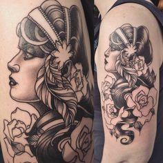 Gypsy woman tattoo by Alex M Krofchak. Blackwork. Neotraditional. Neo. Neotrad. Female face. Portrait. Profile. Rose.