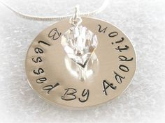 Blessed By Adoption hand stamped necklace by TheHandStampedHeart Adoption Gifts, Godmother Gifts, My Beautiful Daughter, Inspirational Signs, Hand Stamped Necklace, Beaded Jewelry, Unique Jewelry, Making Ideas, Birthstones