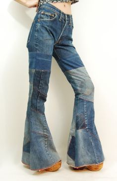Hippie Bell Bottom Jeans | Details about Vtg 70s Denim PATCHWORK Hippie BELL BOTTOM Jeans XS/S