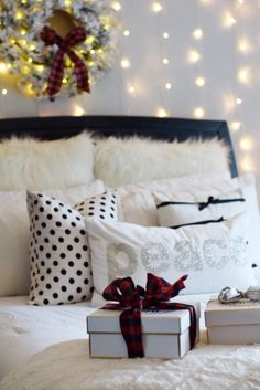 Holiday pillows and holiday gift wrapping essentials available at HomeGoods. Sponsored Pin.