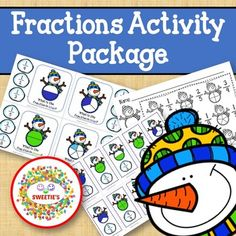 Fractions Activity Package Snowman Theme by Sweetie's | TpT Fraction Activities, Counting Activities, Learning Resources, Kindergarten Blogs, School Reviews, Learn To Count, Teacher Organization, Elementary Math, Fractions