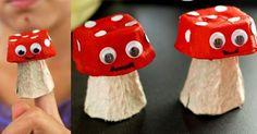 bricolage enfants en matériaux récup: champignons aux yeux mobiles
