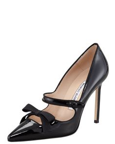 Manolo Blahnik Fiocam Patent Leather Mary Jane Pump