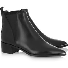Acne Studios Jensen leather ankle boots ($485) ❤ liked on Polyvore featuring shoes, boots, ankle booties, acne, acne studios, eleanor calder, leather boots, short black boots, black leather booties and ankle boots