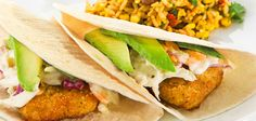 Fish Tacos With Lime Slaw & Spanish Rice And Corn