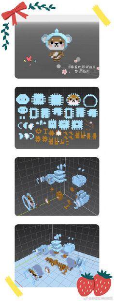Hamma Beads 3d, Pearler Beads, Pearler Bead Patterns, Perler Patterns, Pixel Art, Lanyard Crafts, 3d Perler Bead, Kawaii Diy, Hama Beads Design