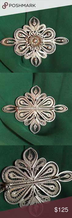 """🎃SALE🎃Vintage Sterling Filigree Brooch Vintage silver filigree brooch.  This piece is absolutely stunning!!  The detail is awesome.  3"""" across & 2"""" top to bottom.  Stamped made in Mexico & tested positive for sterling silver. I did not polish it...the patina I believe adds even more character to the piece.  In great vintage condition.  Open to offers Vintage Jewelry Brooches"""