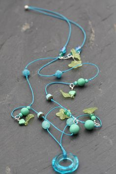 Turquoise Glass Donut Beaded Necklace £20.00