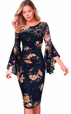 ad3f549e79 VFSHOW Womens Ruffle Bell Sleeves Business Cocktail Party Sheath Dress