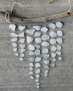 MOBILE: Sea Glass Mobile, White Glass, Driftwood