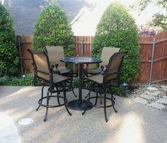 Gensun Grand Terrace Bar Table And High Back Sling Swivel Barstools Enjoy  Your Outdoor Room   Yard Art Patio U0026 Fireplace