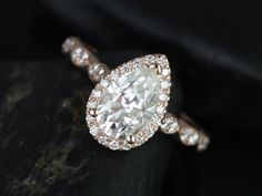 Sydney 14kt Rose Gold Pear FB Moissanite and Diamonds Halo and Leaves Engagement Ring (Other metals and stone options available) on Etsy, $1,750.00