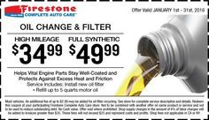Oil Change And Filter Firestone Coupon For January 2016 Oil Change Firestone Standard Oil