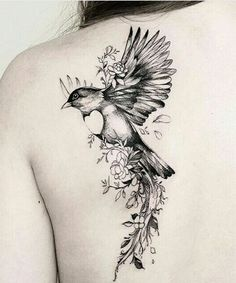 Ever Best Flower and Bird Tattoos on Shoulder for Girls