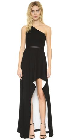 Halston Heritage One Shoulder Gown with High Low Skirt | SHOPBOP