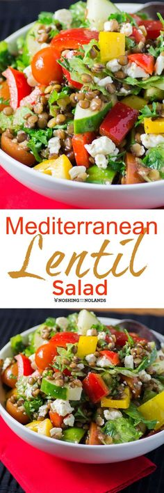 Mediterranean Lentil Salad by Noshing With The Nolands is a flavorful and healthy side dish or a complete meal all on its own!