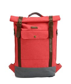 "Red G.ride backpack. Material polyester 600D Cationic. 1 large compartment with snap closure. Inside laptop pocket 15"" and zip pocket. Lateral zip for easy access. Natural leather. Front pocket. Reinforced base. High dentisty quilted back.. Size : 27 x 10 x 60 cm"