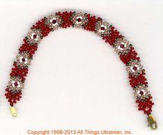 Ukrainian Gherdany Beadwork  # GBR13-004 handmade in Ukraine. Originally sold on http://www.allthingsukrainian.com/Jewelry/index.htm