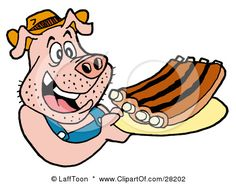 Happy cartoon pig walking away with plate full of bbq ribs! This illustration is available in eps vector format. Clipart © Lafftoon