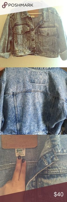 Vintage Denim Jacket This is a true vintage gem. Perfect acid wash look. It's slightly cropped with an oversize fit. Take says 2 but can probably fit up to a large Johnny Q Jackets & Coats Jean Jackets