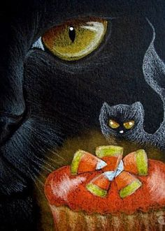 """Cat Art... =^. ^=... ❤... """"Black Cat with Candy Corn in a Cupcake"""" By Artist  Cyra R. Cancel..."""