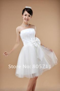 lower price good quality strapless with big bowknot a line lace lower price for wedding