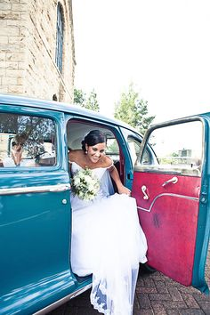 Old Blue Wedding Car -- yes, please!