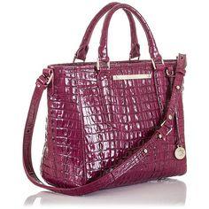 Brahmin Mini Arno Leather Satchel Bag ($225) ❤ liked on Polyvore featuring bags, handbags, boysenberry, mini satchel, satchel handbags, genuine leather purse, leather satchel handbags and mini purse