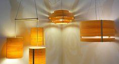 thin strips of wood bent for lighting fixtures