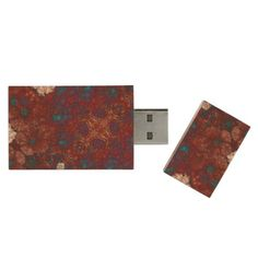Red Blue White Abstract Wood USB Flash Drive