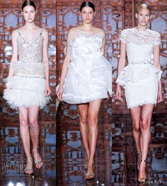 REEM ACRA BRIDAL COLLECTION FALL 2013-More short wedding dresses from the collection — fur lined skirt, ruffled and peplum lace with short sleeves.