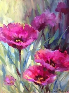 Bee's Eye View Purple Poppies by Floral Artist Nancy Medina, painting by artist Nancy Medina