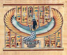 Egyptian papyrus painting depicts the ancient Egyptians Goddess Isis, Winged goddess Isis papyrus painting Egyptian Mythology, Egyptian Symbols, Egyptian Art, Egyptian Anubis, Isis Goddess, Egyptian Goddess, Architecture Antique, Ancient Egypt History, Ancient Aliens