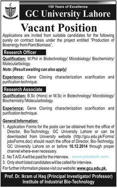 jobs opportunities in gc university lahore for for research officers and research associates are posted in - Php Mysql Jobs