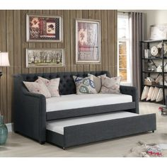 Willa Arlo Interiors Seren Twin Daybed with Trundle Daybed Room, Wood Daybed, Trundle Mattress, Daybed With Trundle, Teen Boy Bedding, Living Room Sofa Design, Diy Furniture Plans, Lounge Areas, Bedroom Decor