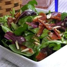 #recipe #food #cooking Baby Greens with a Warm Gorgonzola Dressing food-and-drink