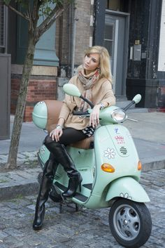 Get your motors running! Can you say winter fashion on wheels? At a recent photo-shoot, I realized that there wasn't a better vehicle than a vespa to Vespa Bike, Motos Vespa, Scooter Motorcycle, Vespa Scooters, Bicycle, Mod Scooter, Scooter Girl, Lady Biker, Biker Girl