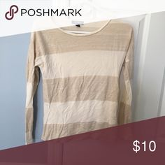 Old Navy Sweater Gold and Cream Striped Sweater Old Navy Tops Tees - Long Sleeve