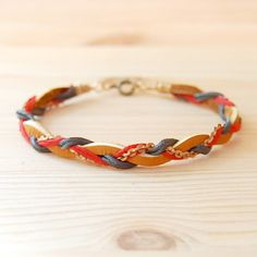 Bohemian Brass & Leather Bracelet: Cranberry Red, Gray and Camel