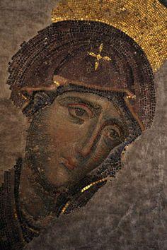 Virgin Mary, detail from Deesis mosaic, Hagia Sophia, Istanbul, 1261 Byzantine Icons, Byzantine Art, Byzantine Mosaics, Religious Icons, Religious Art, Tile Art, Mosaic Art, Mosaic Portrait, Bible Images