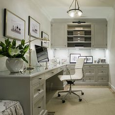 Gray Cabinets, Transitional, den/library/office, Munger Interiors