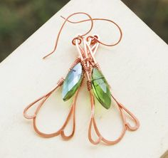 Green-Crystal-Copper-Wire-Wrap-Faceted-Crystal-Earrings-Jeanninehandmade-Jewelry