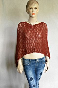 Knitted Poncho Alpaca Poncho Knitted Wrap by CasadeAngelaCrochet