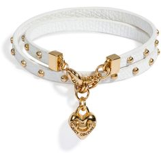 JUICY COUTURE White Double Wrap Leather Bracelet ($45) ❤ liked on Polyvore