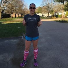 "My daughter recently learned how to give ""thumbs up"" and this run totally gets two of them: 1. I didn't fall. 2. No pain except for my left hand which took the brunt of last night's fall. .... 4 miles done .... #meganrunsamarathon #momswhorun #runlikeagirl #runhappy #runstrong #runbright #thumbsup #marathonerintraining #providencemarathon #procompression #heartsocks #brooksrunning #bamrbands @procompression @bamrbands : @runhappy11.9"