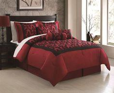 Amazon.com - 7 Piece Queen Bel Air Burgundy/Black Flocking Comforter Set - Bed In A Bag