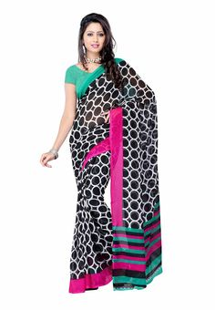 Petra Fab Black Colored Georgette Printed Saree @ Rs. 335 Only