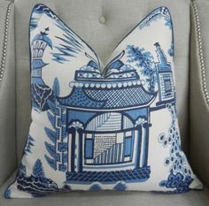 Schumacher Nanjing print in Porcelain - - Pattern on the front by elegantouch on Etsy Blue Dinning Room, Asian Landscape, Enchanted Home, Nanjing, Textiles, Blue China, Down Pillows, Blue Pillows, Scatter Cushions