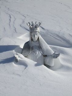 Our Lady of the Snows . . . caught in a Minnesota blizzard ~ awww . . .  I know she was at the 2014 March For Life too !  Thank yiu Mary ~
